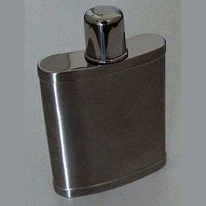 Flask chroom geschuurd met beker op dop  210 ml 7 oz