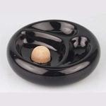 Asbak Pijp 2 pp keramiek zwart glans