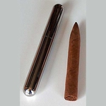 sigarenkoker staal chroom 17,5x2,2 cm.